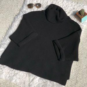 Free People Black Turtleneck Crop Knit Sweater.